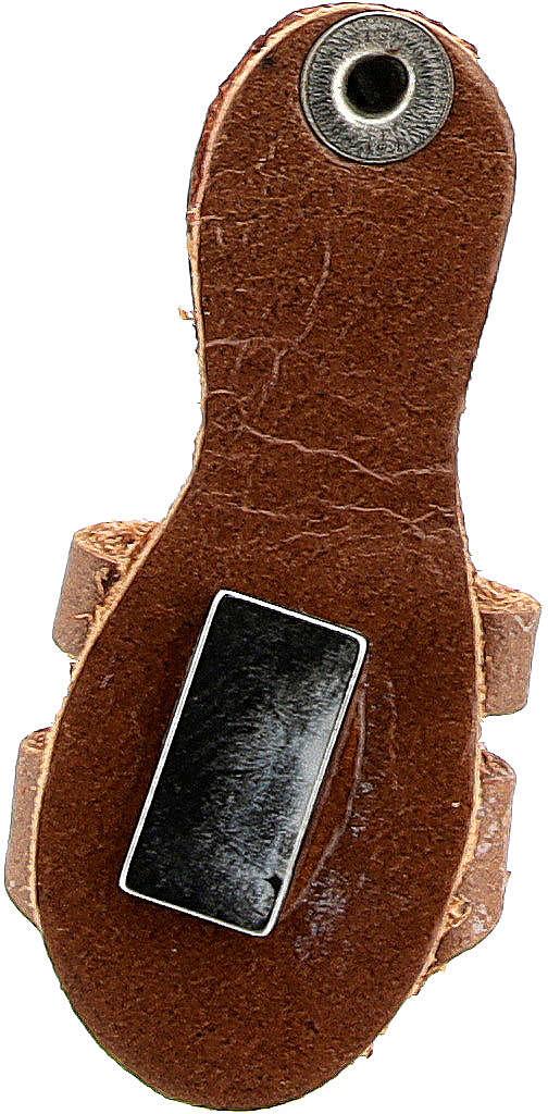 Aimant sandale franciscaine cuir véritable marron 3