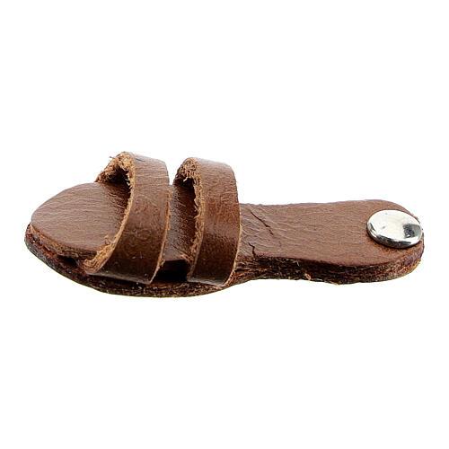 Aimant sandale franciscaine cuir véritable marron 1
