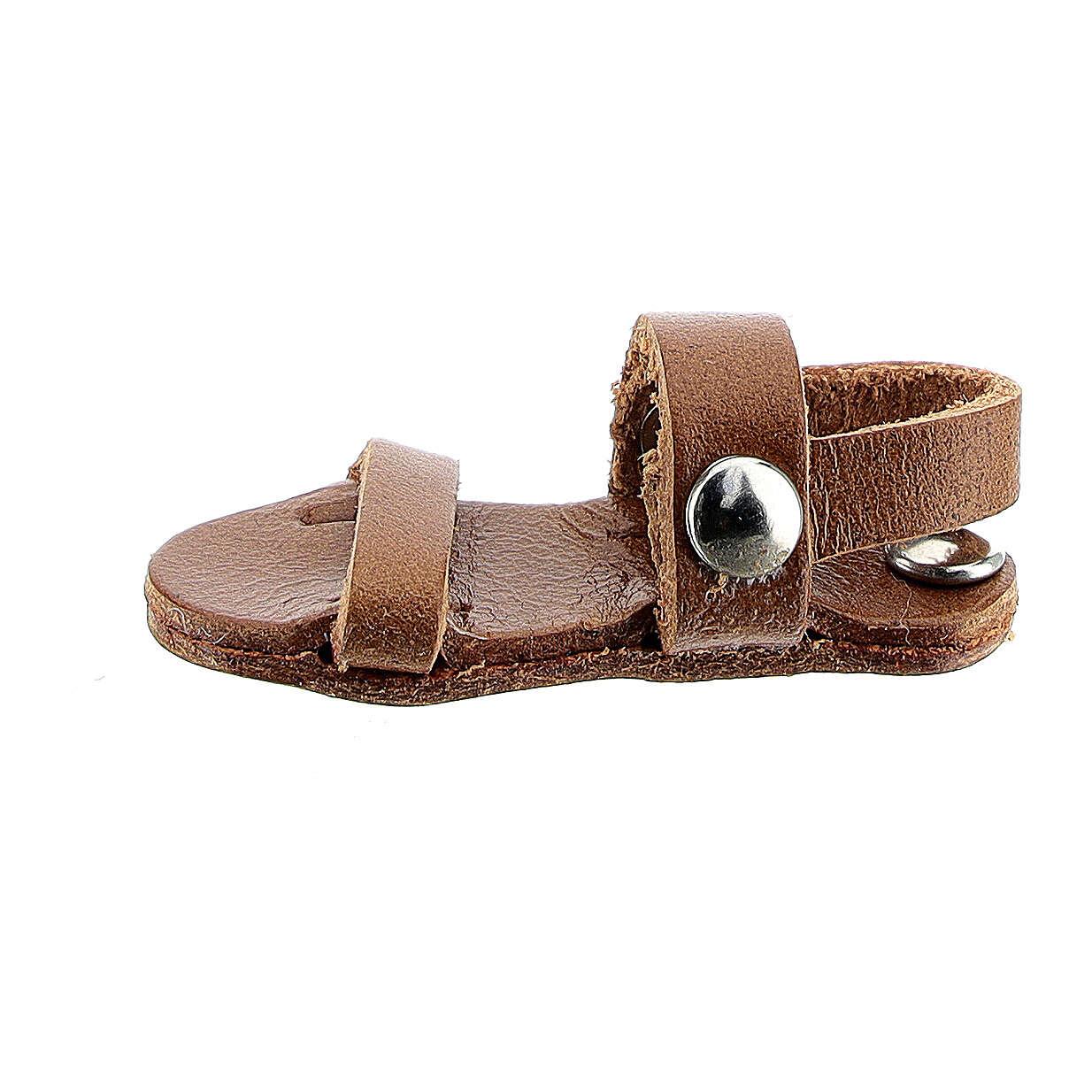 Aimant sandale moine miniature en cuir véritable marron 3