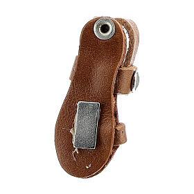 Aimant sandale moine miniature en cuir véritable marron s3