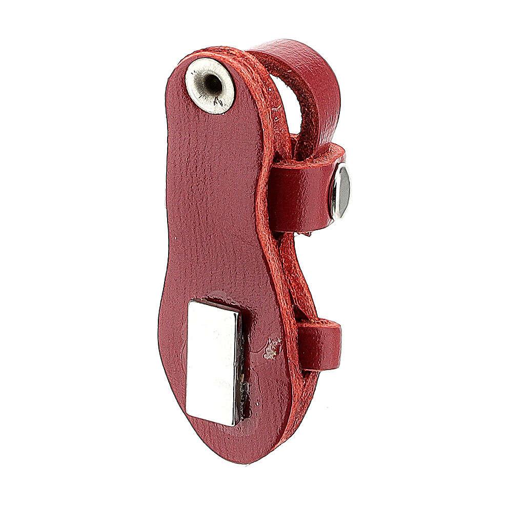 Magnete sandalo frate vera pelle rossa 3,5 cm 3