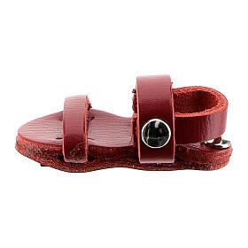 Magnete sandalo frate vera pelle rossa 3,5 cm s1