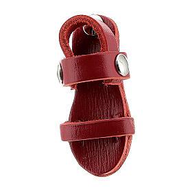 Magnete sandalo frate vera pelle rossa 3,5 cm s2