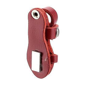Magnete sandalo frate vera pelle rossa 3,5 cm s3