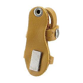 Aimant sandale moine miniature en cuir véritable jaune s3