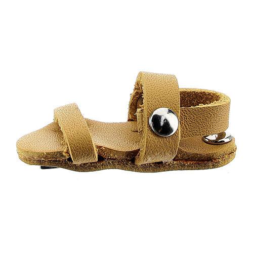 Aimant sandale moine miniature en cuir véritable jaune 1