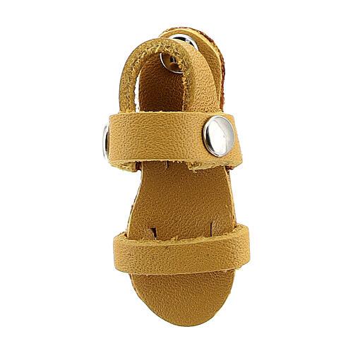 Aimant sandale moine miniature en cuir véritable jaune 2