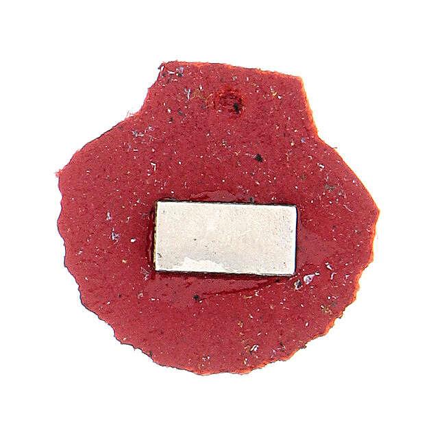 Aimant miniature coquille de Saint Jacques de Compostelle cuir véritable rouge 3
