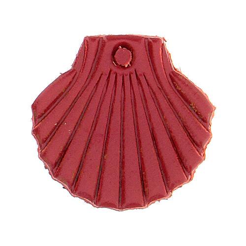 Aimant miniature coquille de Saint Jacques de Compostelle cuir véritable rouge 1