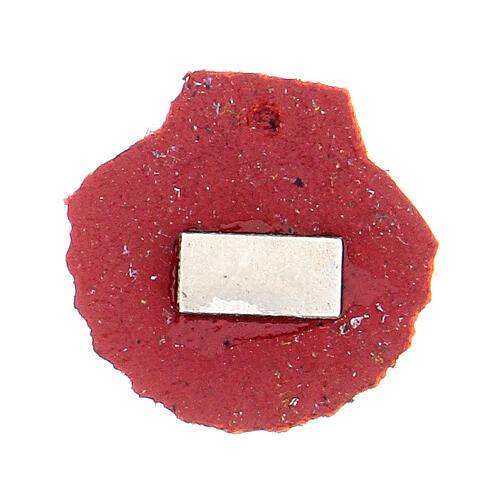 Aimant miniature coquille de Saint Jacques de Compostelle cuir véritable rouge 2