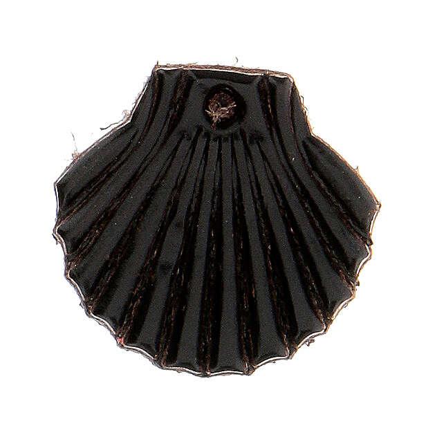 Aimant miniature coquille de Saint Jacques de Compostelle cuir véritable noir 3