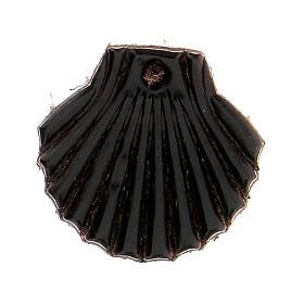 Aimant miniature coquille de Saint Jacques de Compostelle cuir véritable noir s1