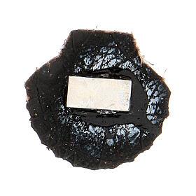 Aimant miniature coquille de Saint Jacques de Compostelle cuir véritable noir s2