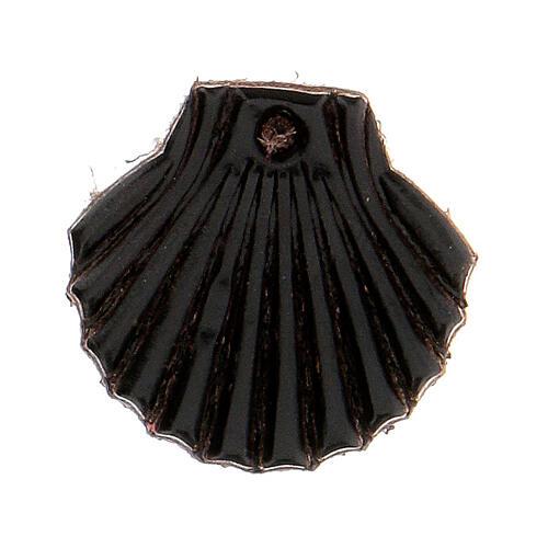 Aimant miniature coquille de Saint Jacques de Compostelle cuir véritable noir 1