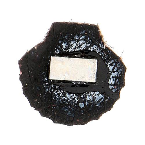 Aimant miniature coquille de Saint Jacques de Compostelle cuir véritable noir 2