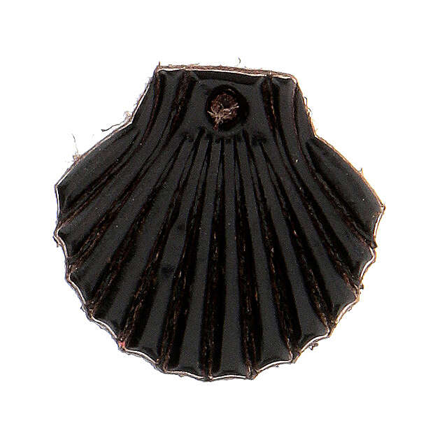 Mini shell magnet of real black leather 3