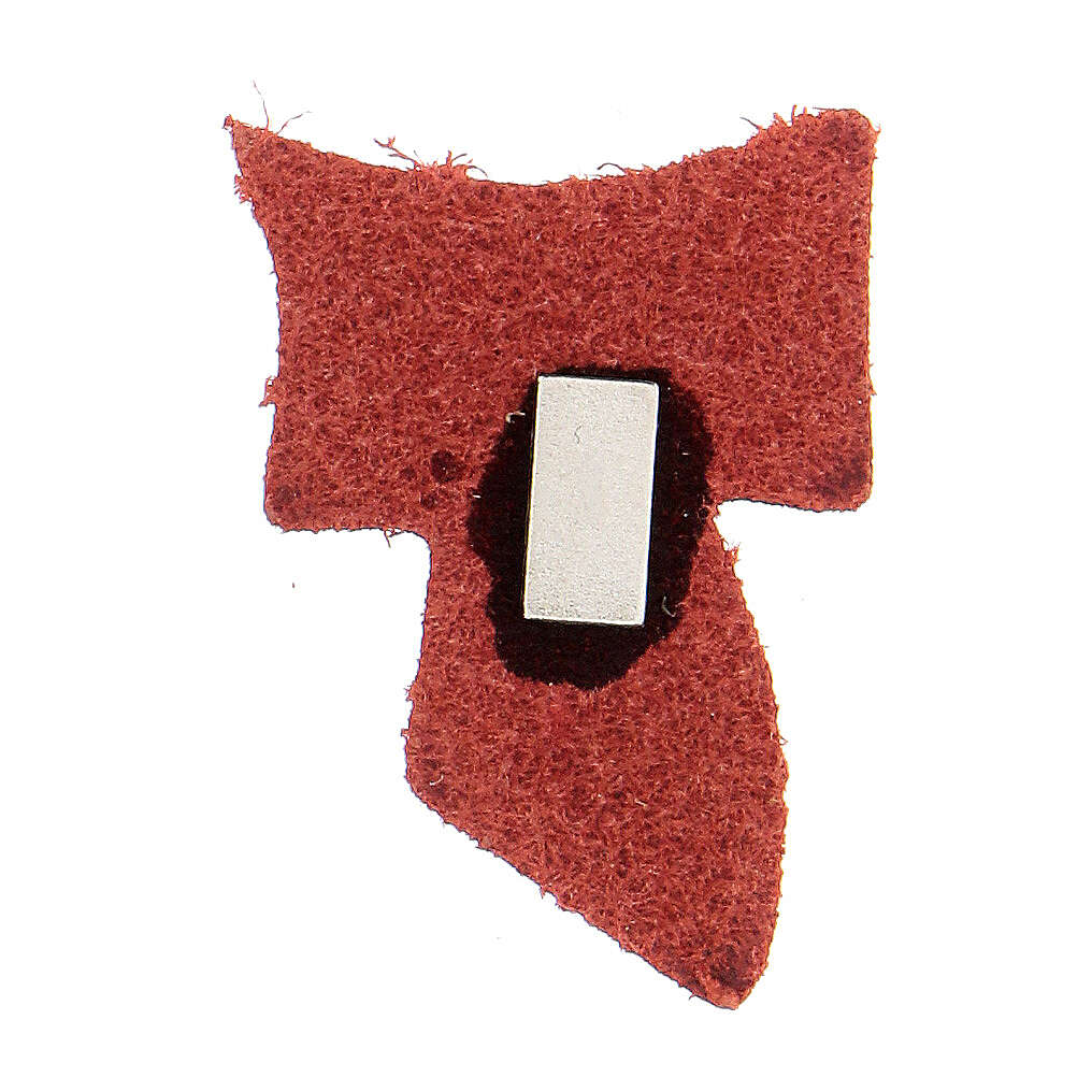 Red leather magnet with golden Tau 1 1/2 in 3