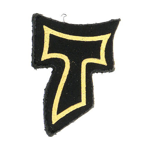 Black leather magnet with golden Tau 1 1/2 in 1