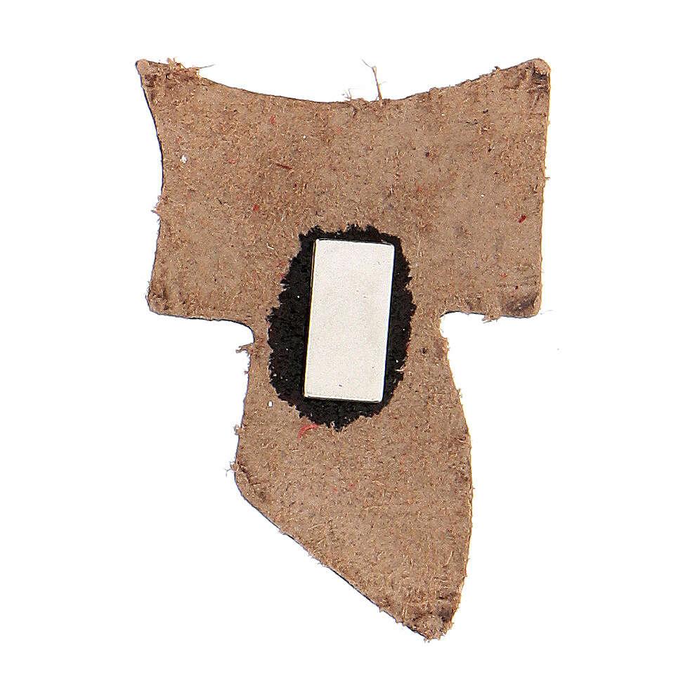 Calamita vera pelle beige Tau incisione dorata 3 cm 3