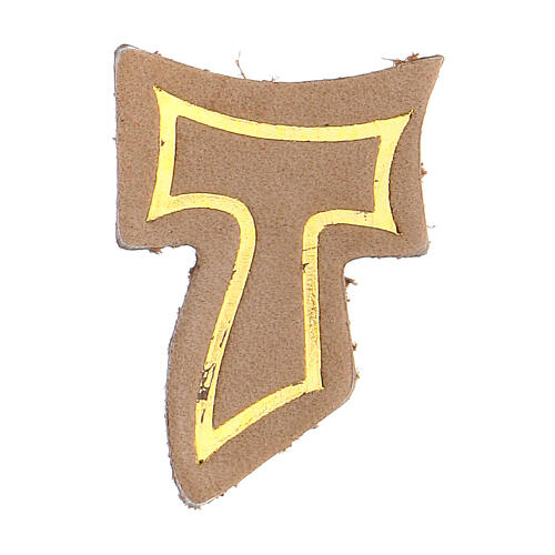 Beige leather magnet with golden Tau 1 1/2 in 1