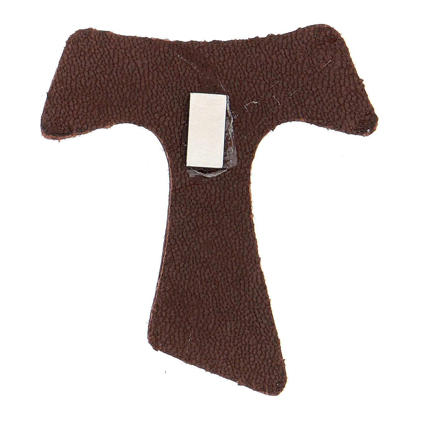 Brown leather magnet with golden Tau Assisi 3