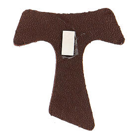 Brown leather magnet with golden Tau Assisi s2