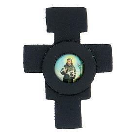 Aimant croix avec Saint François cuir véritable bleu nuit s1