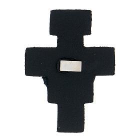 Aimant croix avec Saint François cuir véritable bleu nuit s2