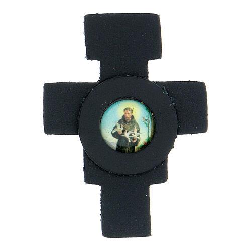 Aimant croix avec Saint François cuir véritable bleu nuit 1