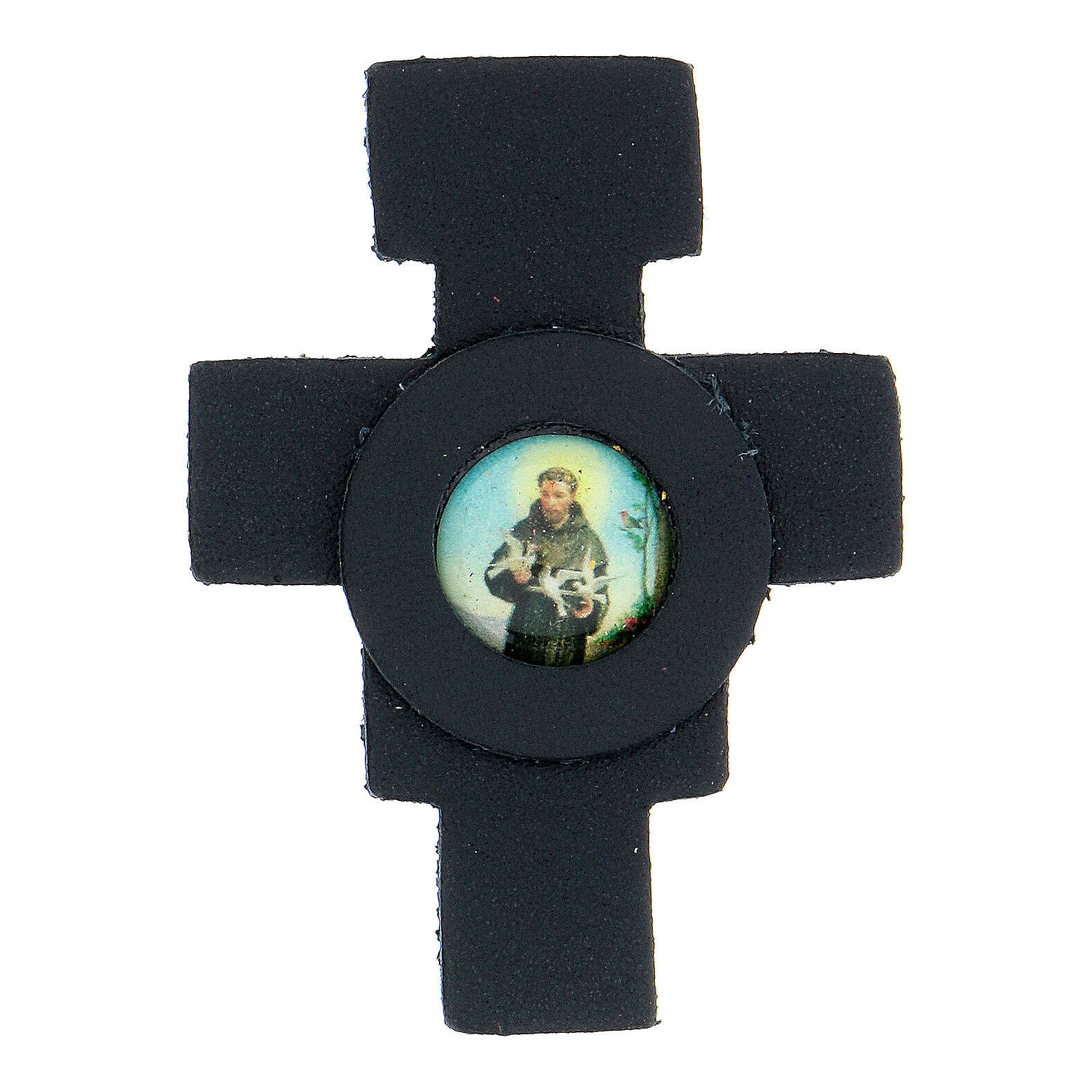 St Francis cross magnet real dark blue leather 3