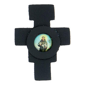 St Francis cross magnet real dark blue leather s1