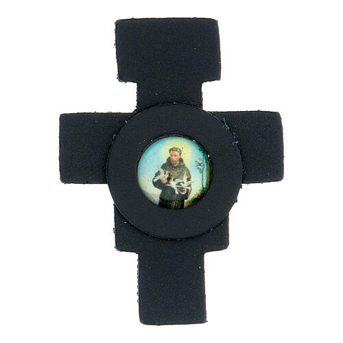 St Francis cross magnet real dark blue leather 1