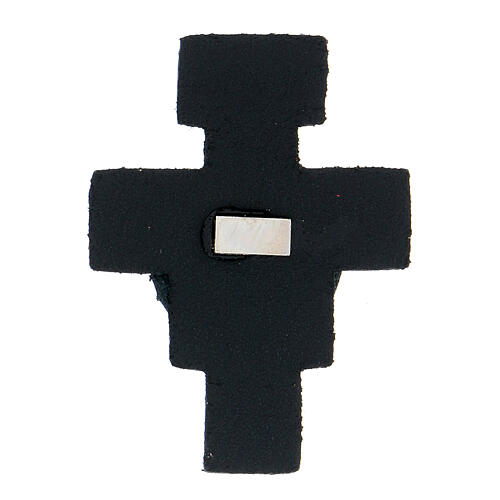 St Francis cross magnet real dark blue leather 2