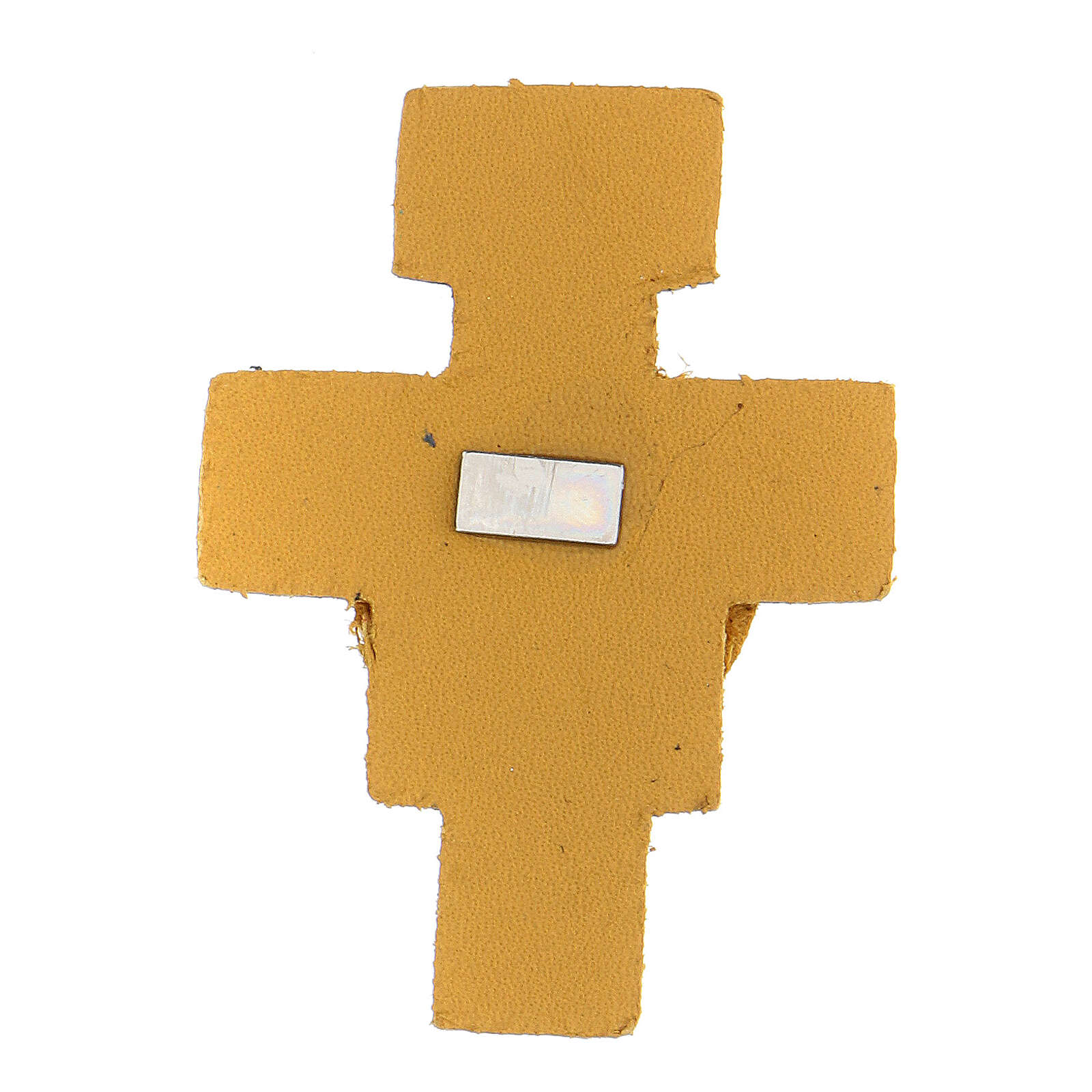 Magnet with yellow cross of St. Francis in real leather 6 cm 3