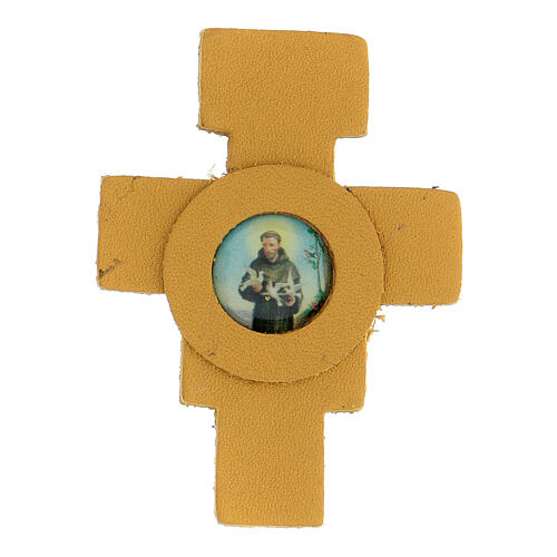 Magnet with yellow cross of St. Francis in real leather 6 cm 1