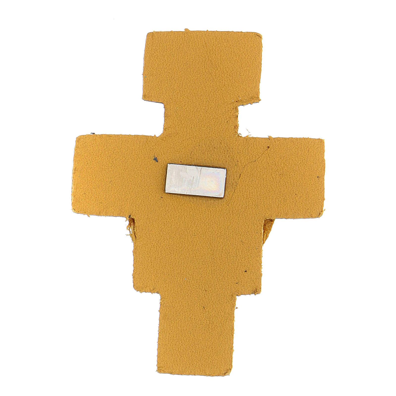 Magnete croce gialla San Francesco vera pelle 6 cm 3