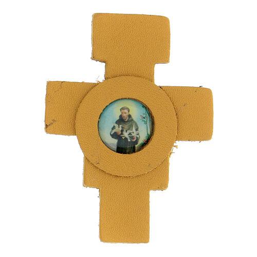 Magnete croce gialla San Francesco vera pelle 6 cm 1