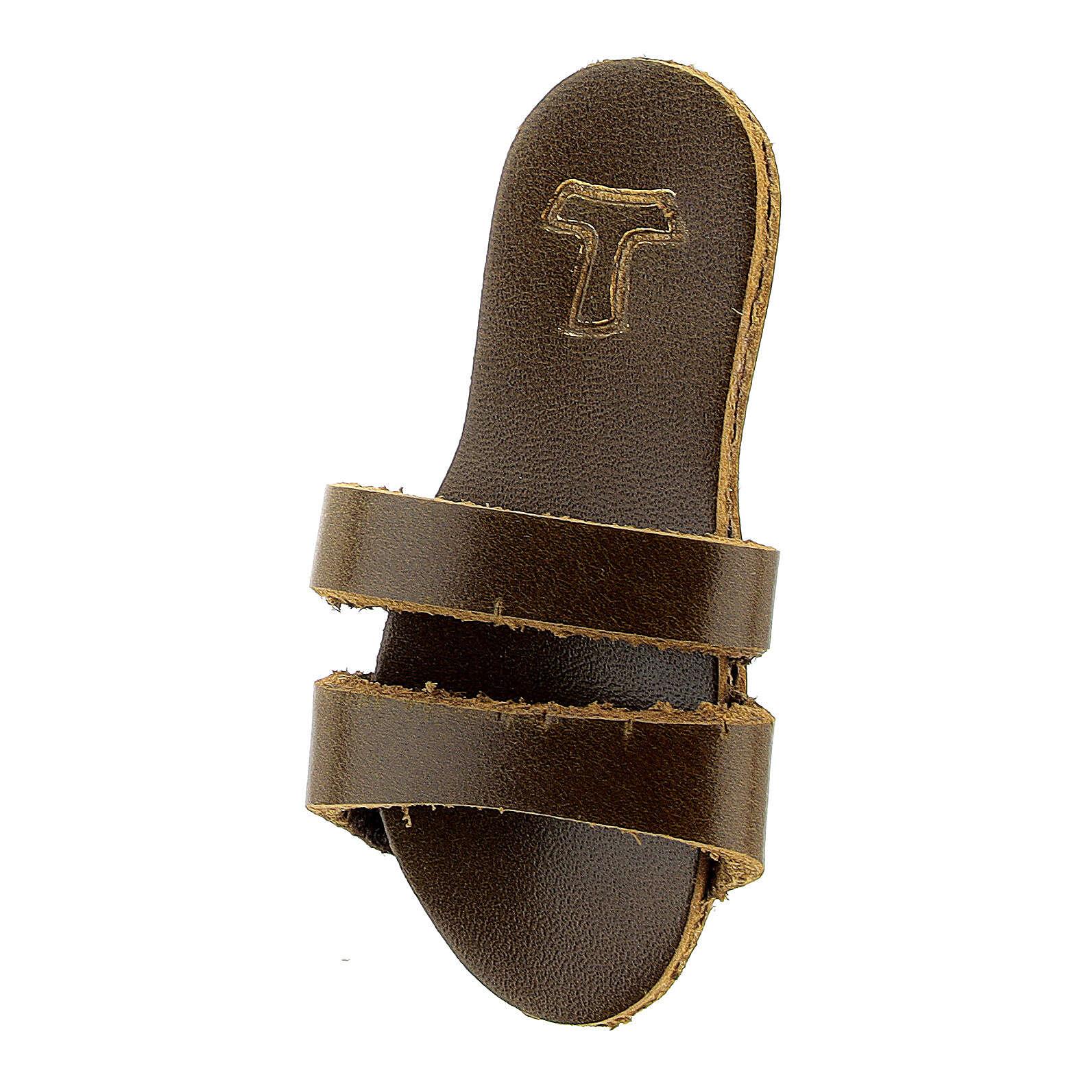 Aimant sandale franciscaine Tau cuir véritable 3