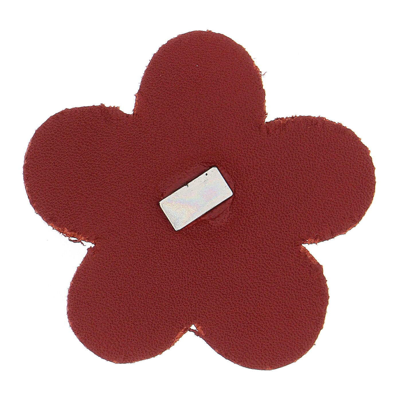 Magnet of Our Lady of Lourdes in real red leather with flower 5 cm 3