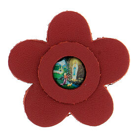 Magnet of Our Lady of Lourdes in real red leather with flower 5 cm s1