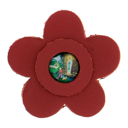 Magnet of Our Lady of Lourdes in real red leather with flower 5 cm 1