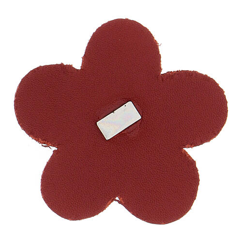 Magnet of Our Lady of Lourdes in real red leather with flower 5 cm 2