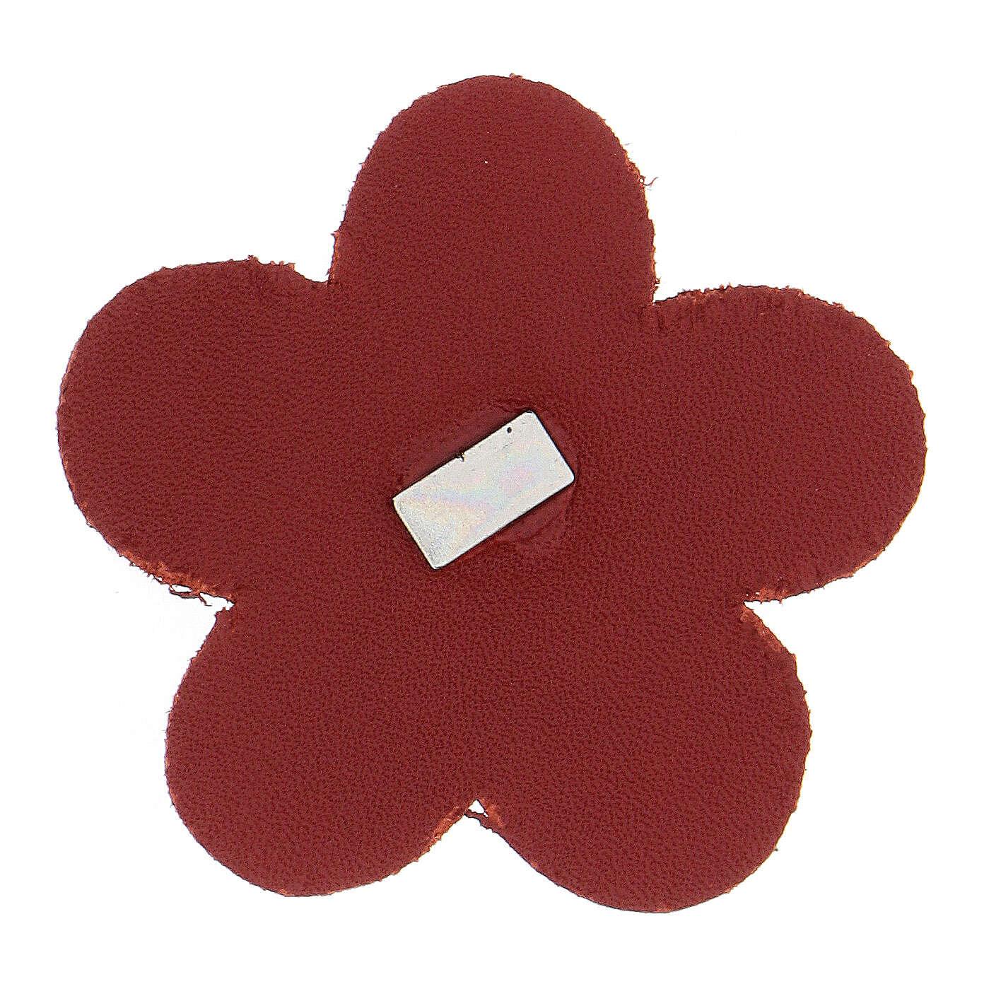 Calamita fiore Madonna Lourdes vera pelle rossa 5 cm 3
