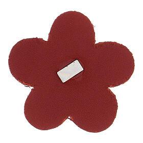 Calamita fiore Madonna Lourdes vera pelle rossa 5 cm s2