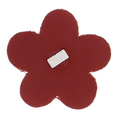 Calamita fiore Madonna Lourdes vera pelle rossa 5 cm 2