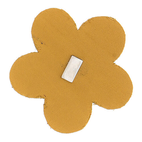 Magnet of Our Lady of Lourdes in real yellow leather with flower 5 cm 2