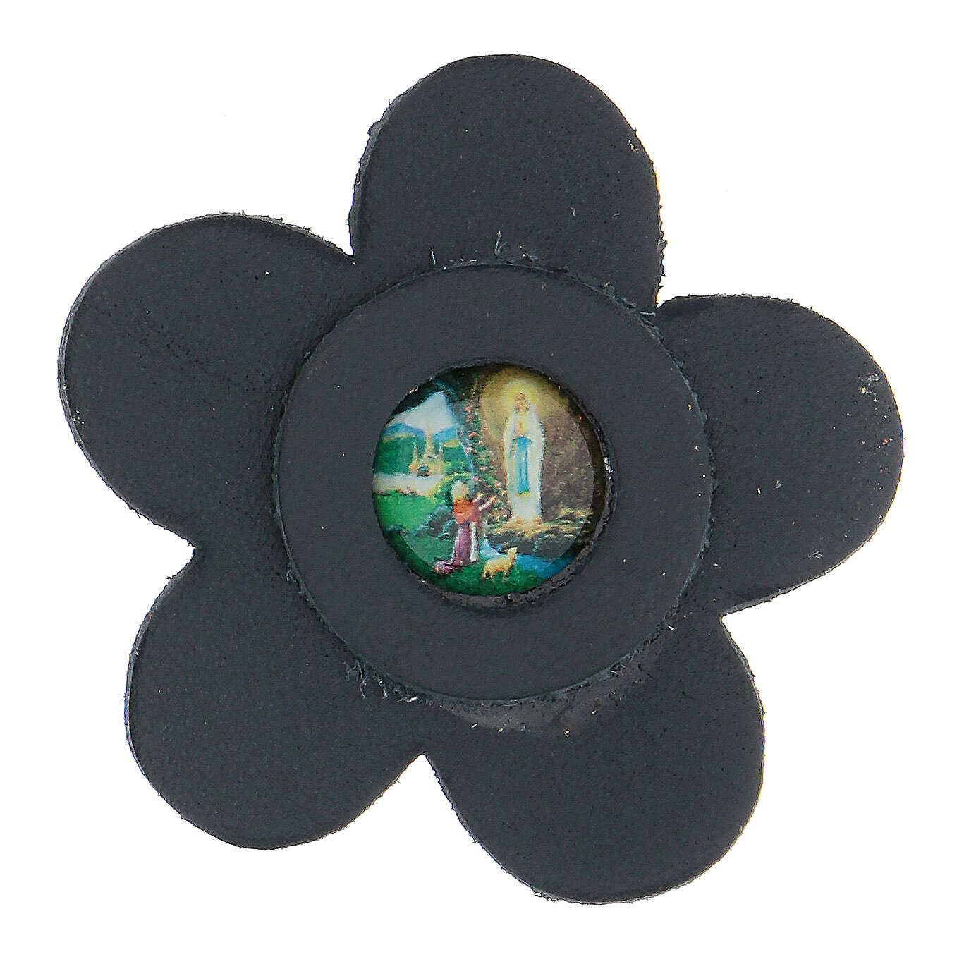 Magnet of Our Lady of Lourdes in genuine blue leather with flower 5 cm 3