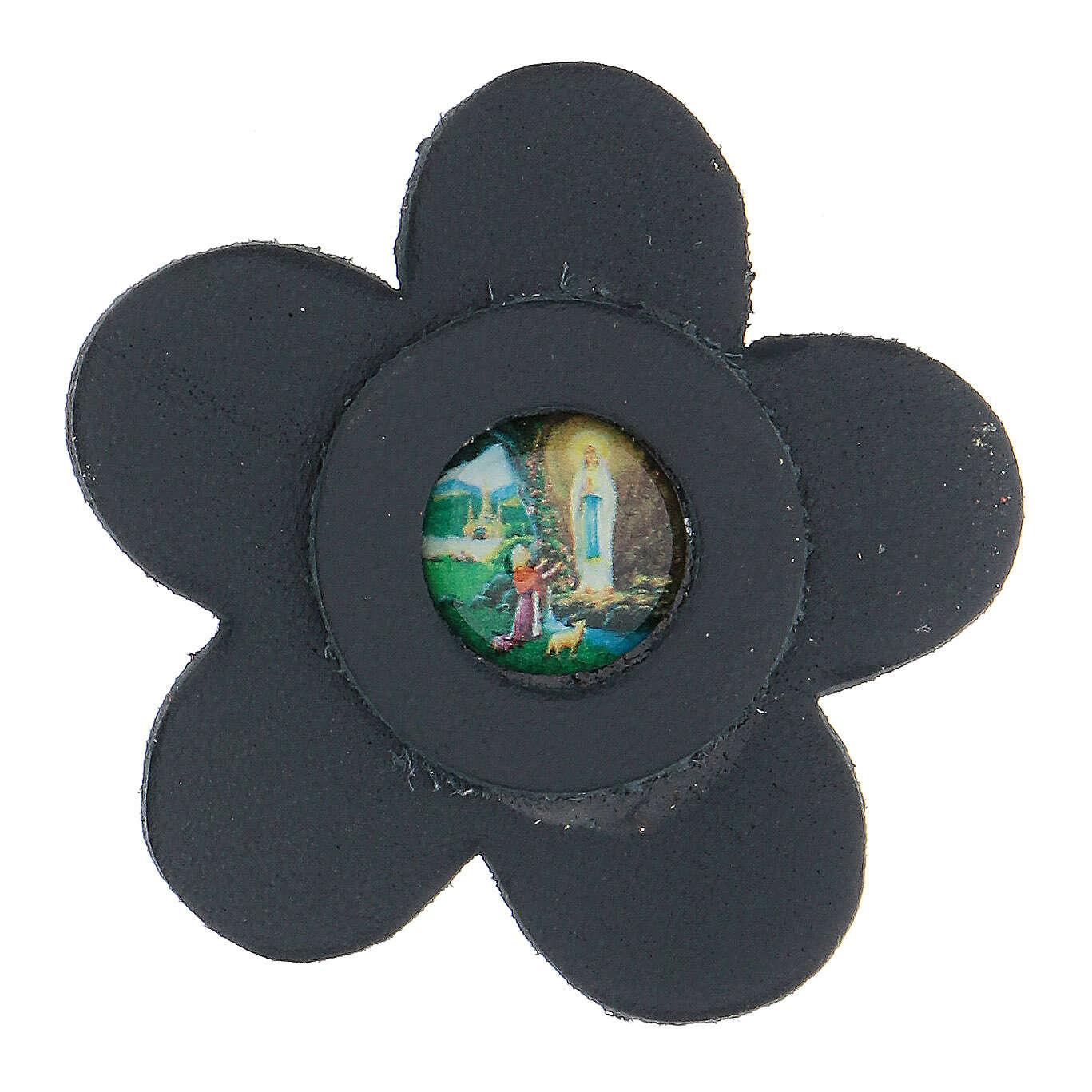 Aimant Notre-Dame de Lourdes cuir véritable bleu fleur 5 cm 3