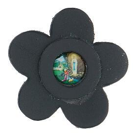 Aimant Notre-Dame de Lourdes cuir véritable bleu fleur 5 cm