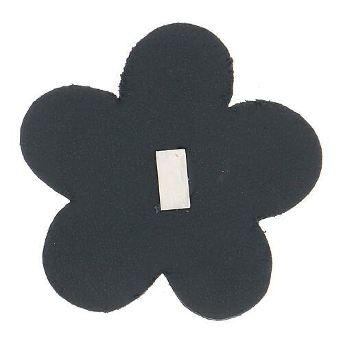 Aimant Notre-Dame de Lourdes cuir véritable bleu fleur 5 cm 2